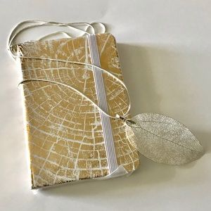 Gold Foil Mini Journal and Silver Leaf Necklace